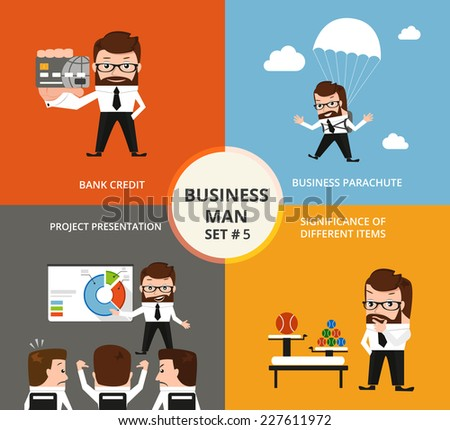 Businessman concept collection. Credit card, parachute, project presentation, significance of different items - stock vector