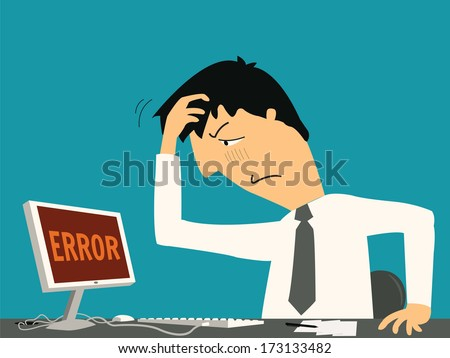 Businessman confused and being in bad temper with error message on computer.  - stock vector