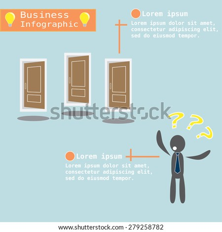 Businessman confusing with three doors. vector concept illustration. - stock vector