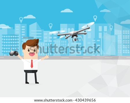 businessman control modern drone with camera flying in the sky on cityscape background. with copy space - stock vector