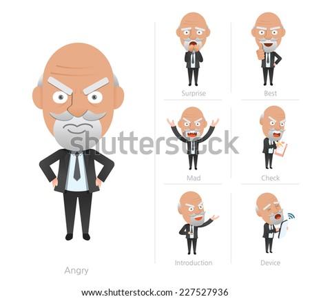 Businessman corporate life flat design 7set-ceo - stock vector