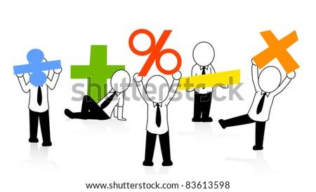 businessman count the profit - stock vector