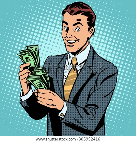 Businessman counting money dollars. Business and Finance - stock vector
