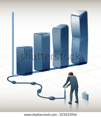 Businessman creating graphs.Efforts to create a nice graph.Perfect Graph.Illustration for idea of business.Approach to communication for business. Graphic design and vector EPS 10. - stock vector