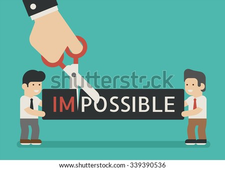 businessman cutting a paper with text Impossible , eps10 vector format - stock vector