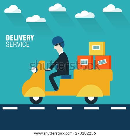 Businessman delivering package on yellow Tuk Tuk - stock vector