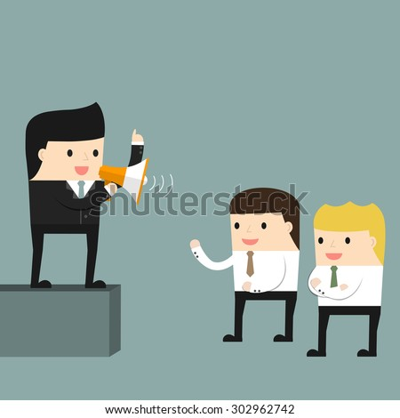 Businessman delivers a speech in front of subordinates. Vector illustration. - stock vector