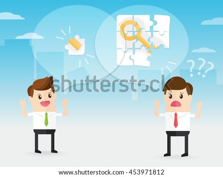 businessman discussion with coworker. manager giving keyword help employee solve key to success jigsaw puzzle - stock vector