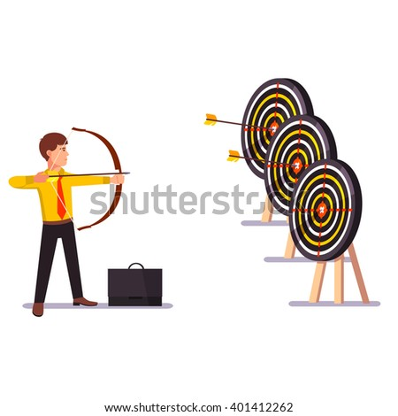 Businessman doing a perfect hit arrow target practice. Flat style vector illustration. - stock vector