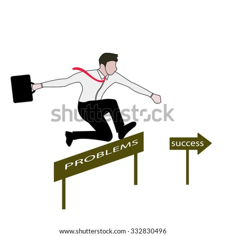 Businessman doing pole vaulting over  barrier hurdle with text Problems. obstacle entitled success.Overcoming barriers to success involves assessing the situation - stock vector