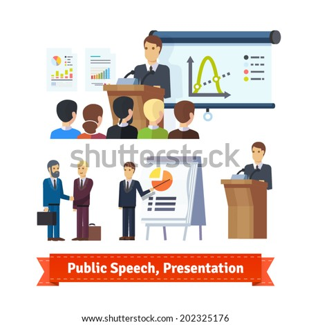 Businessman doing presentation or pitching a speech. Conference Illustration. Flat icon set. EPS 10 vector. - stock vector