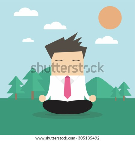 Businessman doing yoga vector - stock vector