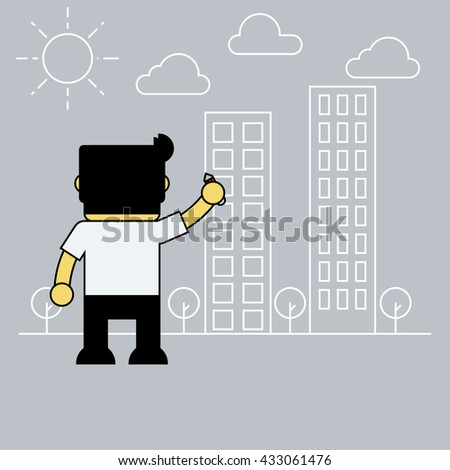 Businessman drawing building on wall. - stock vector