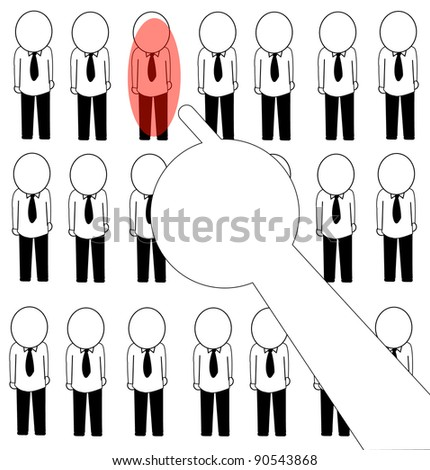 businessman drawing selection chosen by the index finger only in red - stock vector