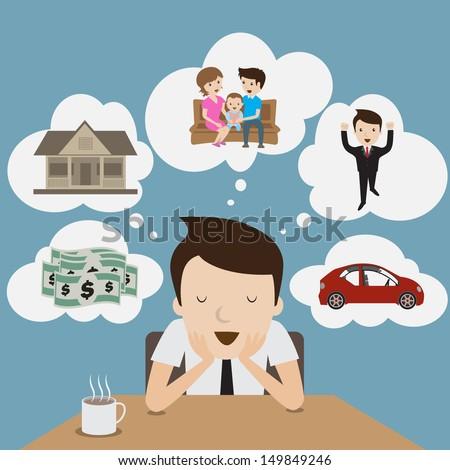 Businessman dream at coffee break. Cartoon Vector. - stock vector
