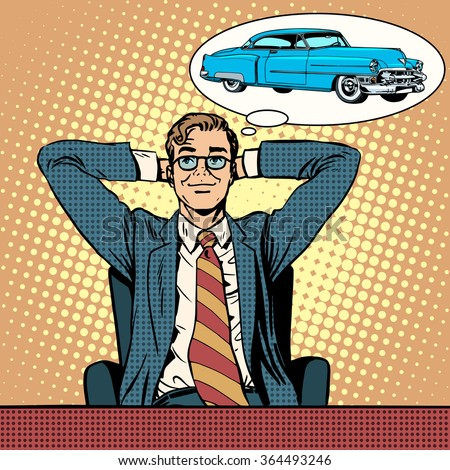 Businessman dreaming about a car - stock vector