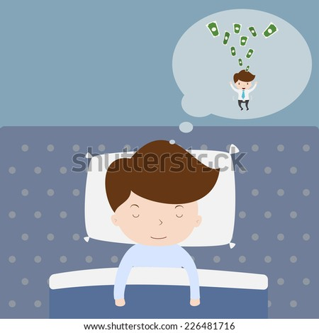 Businessman dreaming about success. - stock vector