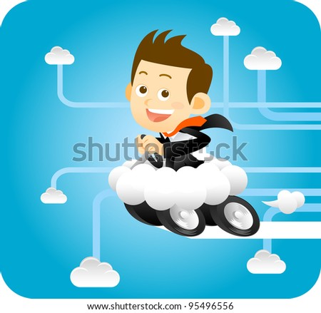 Businessman Driving in Cloud world - stock vector
