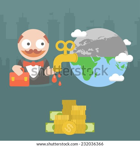 businessman earth energy crisis money - stock vector
