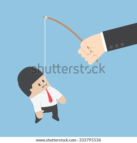 Businessman eat the fishing bait, VECTOR, EPS10