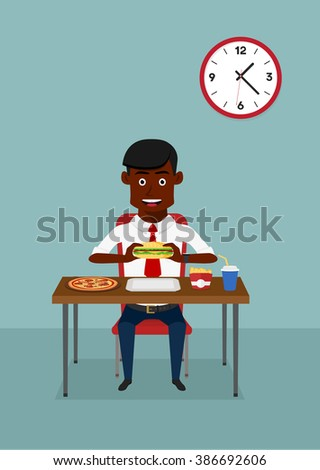 Businessman eating fast food dinner with hamburger, pizza, french fries and soft drink at the table in the office cafeteria, for business lunch or dinner design. Cartoon flat style  - stock vector