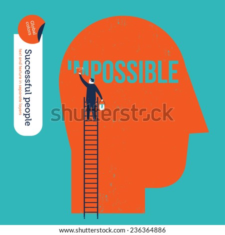 Businessman erasing the word impossible in a big head. Vector illustration Eps10 file. Global colors. Text and Texture in separate layers. - stock vector