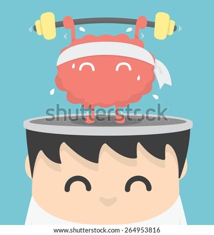 Businessman exercising  brain - stock vector