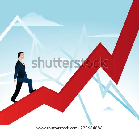 Businessman expectations, featuring a man in a business suit walking over a growth chart - stock vector