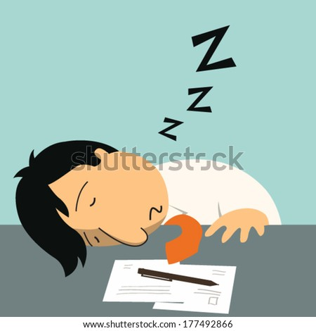 Businessman falling asleep at his work, business concept in sleeping, dozing, relaxing, take a break or lazy at working. - stock vector