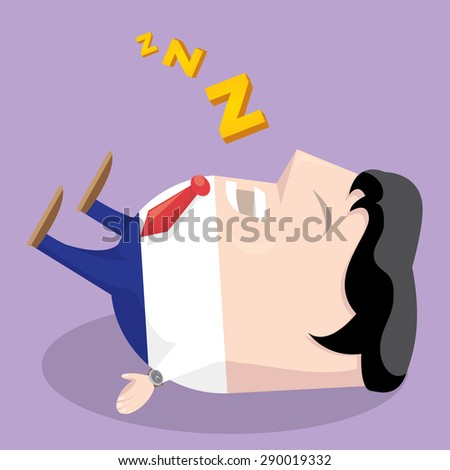 Businessman falling asleep at his work, business concept in sleeping, dozing, relaxing, take a break or lazy. Sleeping man in office. vector illustration - stock vector