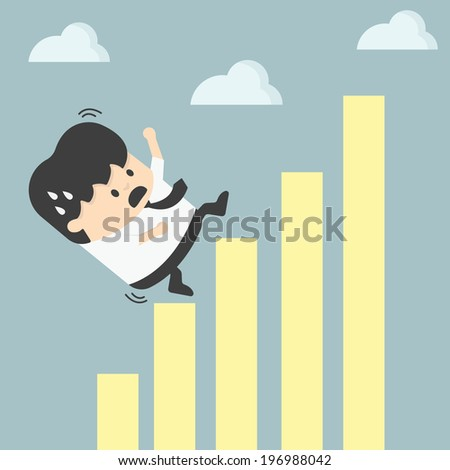 businessman falling down graphic chart - stock vector