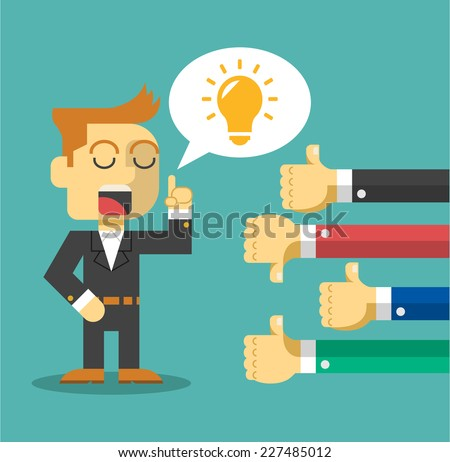 Businessman feedback. Like and dislike. Vector flat illustration - stock vector