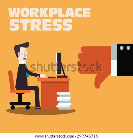 Businessman feedback. Workplace stress and working problem. Dissatisfied boss with thumb down. Dislikes and negative feedback concept - stock vector