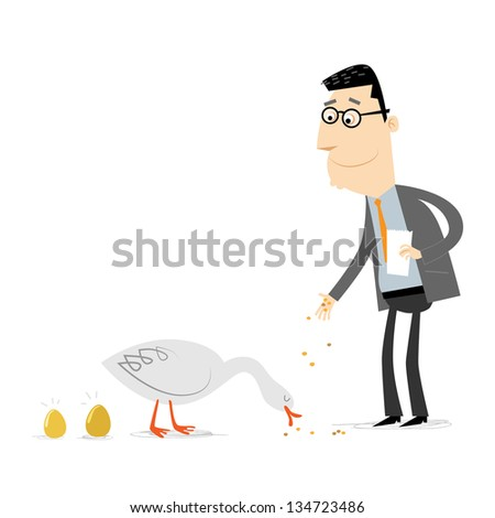 Businessman feeding a golden goose - stock vector