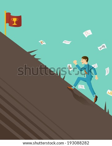 businessman fighting with an obstacle for victory - stock vector