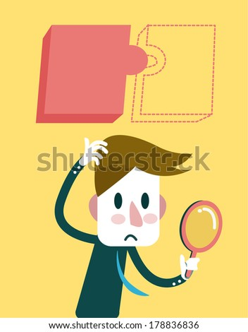 Businessman finding for hidden jigsaw puzzle. business concept. vector - stock vector