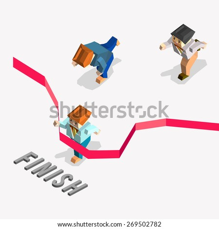 Businessman finishing red thin line. Creative people collection.business competition illustration with 3d polygonal vector character. detailed isometric vector - stock vector