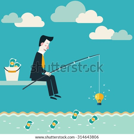 Businessman fishing dollar money. Innovation, strategy and investment concept. Idea attracting money and money attracting ideas. Make money from idea concept. Vector modern design - stock vector