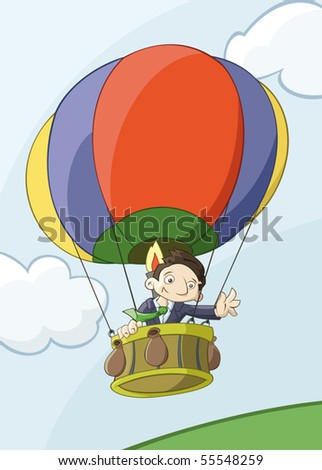 Businessman flights by colorful balloon - stock vector