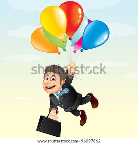 Businessman Flying Away with Colorful Balloons, vector cartoon illustration - stock vector