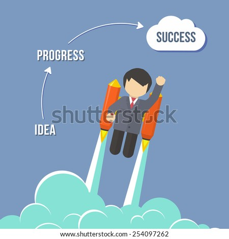 Businessman Flying On the Rocket To Success. Flat style vector infographic illustration - stock vector
