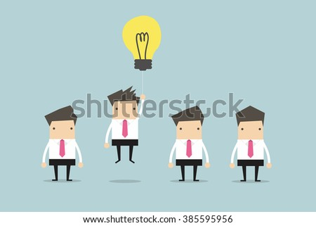 Businessman flying out by light bulb of idea - stock vector
