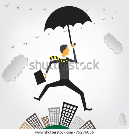 Businessman flying over a cityscape - stock vector