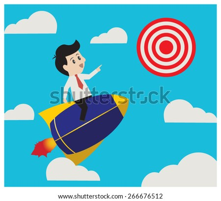 Businessman flying rocket and point to aim,businessman concept. - stock vector