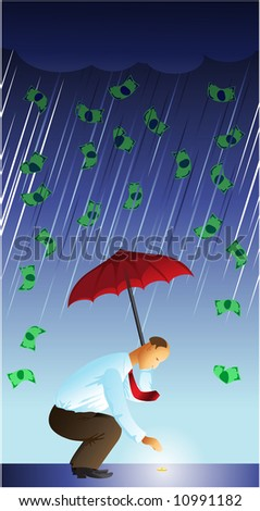 businessman found coin in the dollar rain - stock vector