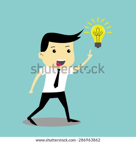 Businessman get an Idea and he look happy, Business concept vector illustration