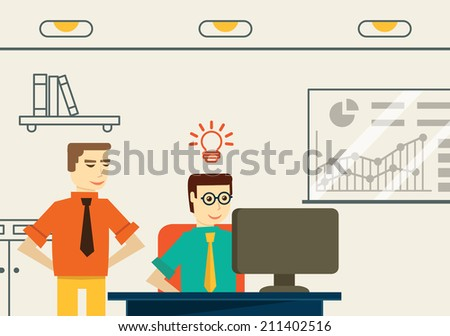 Businessman get an idea. Business analytics and solution - vector illustration - stock vector