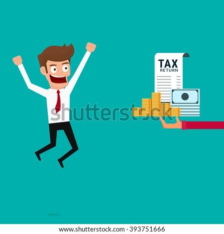 Businessman get money return. Tax return concept. Cartoon Vector Illustration. - stock vector