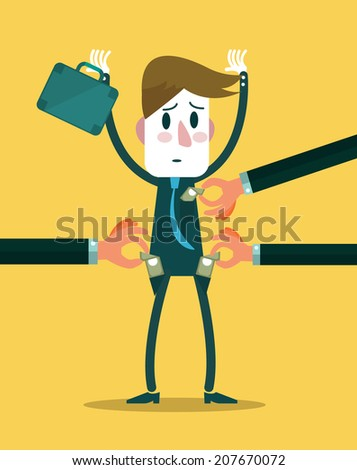 Businessman get robbery by business hands. vector illustration - stock vector