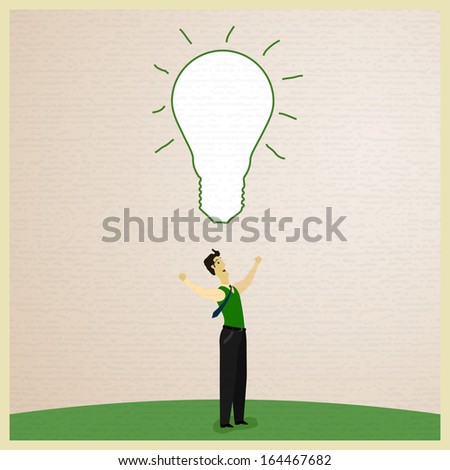 Businessman get the big idea. Vector illustration - stock vector